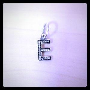 Pandora Dangle Charm, Letter E, Sterling Silver